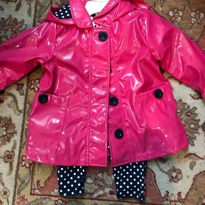 NWT Little Me Raincoat and outfit size 12 months